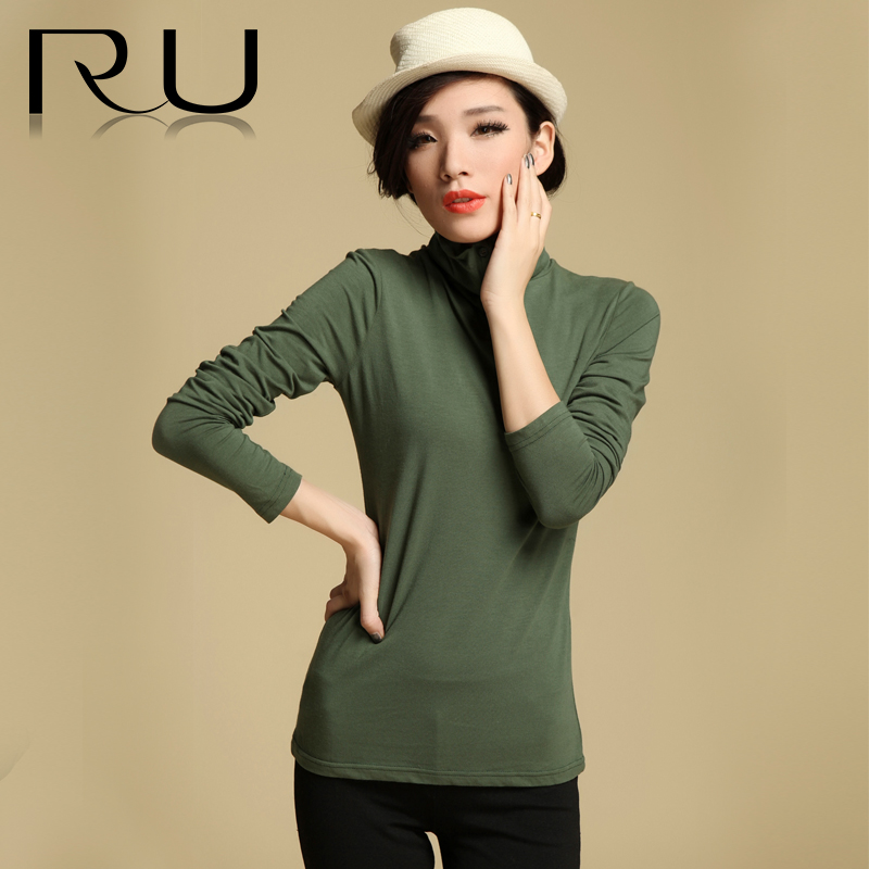 2013秋季新款女装高领纯棉纯色韩版修身显瘦长袖打底衫t恤 价格:99.00