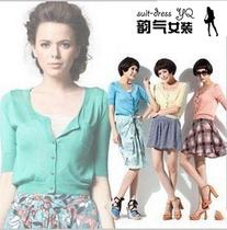 2013夏季超薄款短款针织衫mng开衫防晒衫女士外套短袖糖果色外搭 价格:38.00