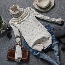 冬装新款勾花高领短款打底衫羊毛衫毛衣女式蕾丝拼接堆堆领羊绒衫 价格:90.00