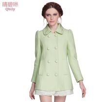 晴碧琳2013秋冬新款女装英伦翻领蕾丝双排扣中长款大衣羊毛呢外套 价格:498.40