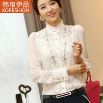 雪纺衫 2013秋装新款韩版气质女装 蕾丝衫 大码长袖打底衫 上衣女 价格:89.00