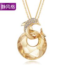 静风格 施华洛世奇水晶毛衣链 长款 韩国 时尚水晶项链  生日礼物 价格:156.87