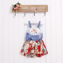 特价夏装新款韩版儿童装 女童爱玛仕图案吊带裙子宝宝珍珠公主裙 价格:17.60