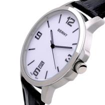 正品Berny时尚男表 简约真皮表带日历男士手表 石英表腕表石英表 价格:178.00