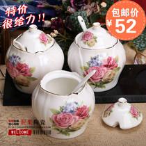 欧式陶瓷调味罐 骨瓷调料瓶罐盐罐厨房储物用品三件套装 价格:52.00