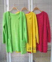 2013秋季新款 韩版糖果色口袋针织开衫  女 大码中长款开衫 价格:58.00