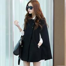 韩国代购女装时尚大牌披风圆领斗篷宽松插肩袖外套羊绒毛呢大衣 价格:199.00