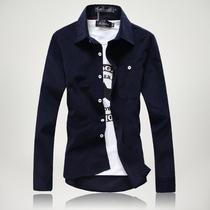 秋装新款纯色男士长袖衬衫灯芯绒男衬衫百搭韩版修身衬衣男潮2013 价格:59.00