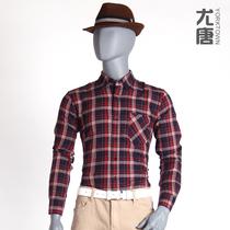 尤唐 纯棉格子衬衫 男士格子衬衣 长袖衬衣花格子修身衫寸衫潮流 价格:39.18