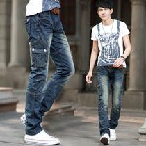 男士多口袋工装牛仔裤潮个性青年韩版修身小直筒牛仔裤 秋季男裤 价格:149.00
