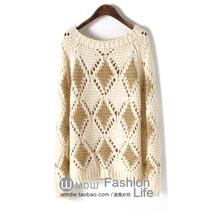 针织衫13初秋新款女装宽松菱形图案圆领套头镂空针织衫毛衣HLX021 价格:68.80