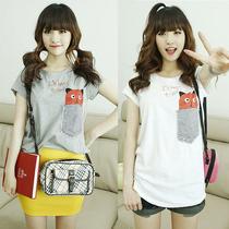 夏季新款韩版 个性印花休闲宽松短袖 新品简单字母猫咪图案T恤女 价格:28.00