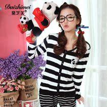 黛芝美2013秋冬条纹熊猫睡衣女长袖睡衣家居服套装 价格:78.00
