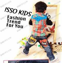 韩版童装童裤酷版褶皱水洗黄橘双色口袋黑猫造型儿童男童牛仔长裤 价格:64.00