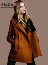 秋冬新款欧美风毛呢女装外套大气时尚双排扣长袖毛呢大衣风衣094 价格:158.00
