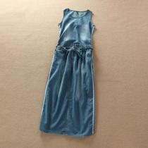 薄薄的!气质牛仔裙无袖连衣裙背心裙薄款夏日运动裙长裙A2-002 价格:69.90