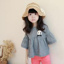 公主小屋童装女童秋装新款经典格子娃娃款女童上衣儿童衬衫七分袖 价格:49.00