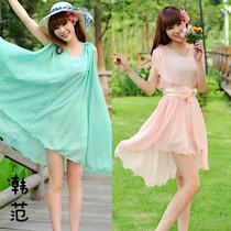 新款2013韩版背心雪纺长裙荷叶边大摆裙子夏季大码小清新连衣裙女 价格:39.90