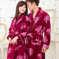 睡袍浴袍男女情侣冬包邮加厚法兰绒珊瑚绒睡衣家居服紫色睡袍浴袍 价格:88.00