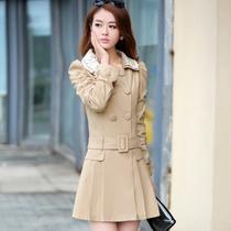 风衣女外套2013秋装新款女装潮韩版蕾丝OL中长款长袖风衣女款修身 价格:136.00