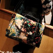 2013新款欧美复古油画包双箭头韩版印花皮带手提单肩斜挎女包包邮 价格:89.00