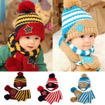 包邮 男女童 儿童帽子韩国宝宝护耳帽婴儿套头毛线帽子围巾套装 价格:26.00