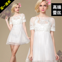 欧美高腰一字肩蓬蓬裙白色蕾丝连衣裙仙宫廷复古公主裙娃娃裙正品 价格:168.00