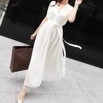 韩版修身女装飘逸白色夏装裙 无袖背心拖地长裙雪纺连衣裙夏 2013 价格:158.00