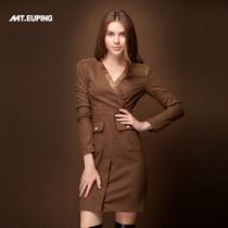 原创 2013秋装新款 V领高腰 羊毛修身 高开衩毛呢连衣裙 价格:199.00