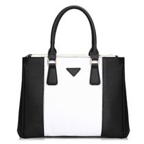 2013新款真皮女包秋季款欧美潮黑白撞色手提单肩斜挎方形牛皮包包 价格:258.00