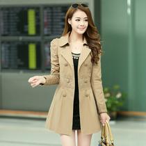 2013新款蕾丝全棉风衣女韩版女式双排扣中长款大码泡泡袖风衣外套 价格:208.00