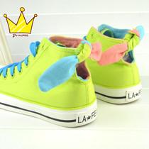 特价!高帮兔耳朵帆布鞋 荧光色帆布鞋 甜美系女生蝴蝶结帆布鞋 价格:38.13