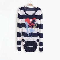 秋装新品三彩 品牌折扣尾货女装高端一线剪标亮片条纹长袖针织衫 价格:78.00
