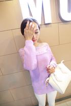 于momo 韩版甜美蕾丝拼接套头长袖一字领百搭显瘦针织毛衣女H3309 价格:109.00