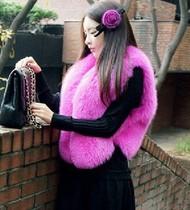 2013年新品 进口芬兰狐 玫红色狐狸毛整皮皮草背心短款马甲多色 价格:2900.00