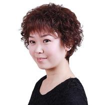 新款真发假发 真发头套 真人发斜刘海 中老年假发 短卷发 时尚女 价格:196.00