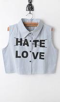 2013秋季 原宿风love&hate 甜美翻领竖条纹无袖短款露脐衬衫t恤女 价格:29.90