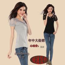 2013夏装新款韩版大码女装胖MM圆领泡泡短袖莫代尔修身T恤蕾丝女 价格:31.92