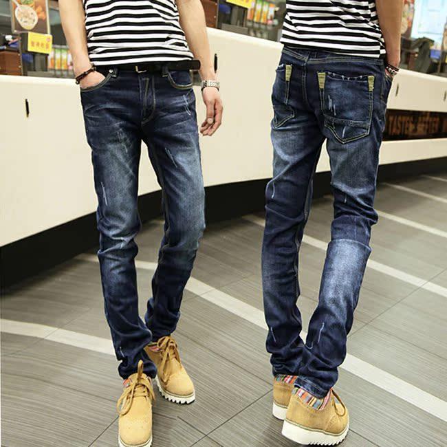 2013秋季爆款 浅色牛仔裤 男士韩版时尚修身小直筒白色长裤子潮软 价格:78.00