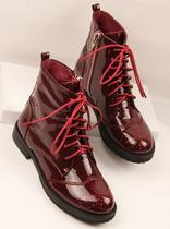 欧洲站潮鞋秋季新品女鞋复古英伦风格 真皮漆皮系带马丁靴短靴子 价格:388.00