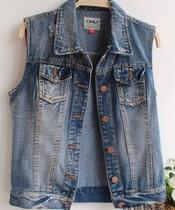 原单牛仔马甲 牛仔开衫 背心方领口袋牛仔上衣短外套 韩版女 价格:65.00