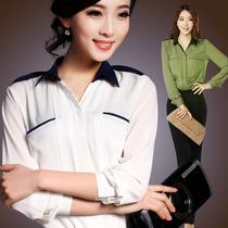 2013新款女装衬衣春夏装OL通勤职业长袖雪纺衬衫 品质女装 雪纺衫 价格:78.00