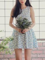 韩版女装秋季新款 森系清新田园花朵印花收腰打底裙无袖连衣裙子 价格:59.00