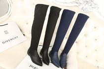 清仓特价 热卖爆款 13韩版新品绸缎面尖头低跟马蹄跟女靴套筒长靴 价格:101.70
