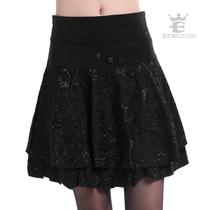 艾尔芙 2013秋装新款女装 半裙子蕾丝短裙半身裙大码百褶裙a字裙 价格:133.00