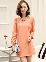 雅玛家2013秋装新款韩版时尚大牌修身显瘦纯色套头长袖连衣裙女装 价格:61.75