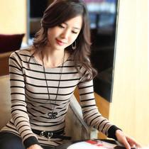 【会员购】秋装条纹长袖t恤女打底衫韩版棉大码体恤上衣修身百搭 价格:28.00