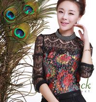 女士小衫2013新款 长袖大码韩版修身女大码秋装蕾丝上衣打底衫 价格:98.00