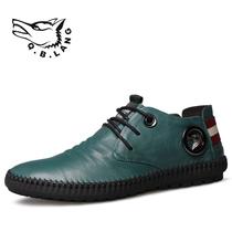 香港七匹狼男鞋休闲鞋韩版圆头装饰潮男单鞋牛皮系带男低帮平底鞋 价格:220.00