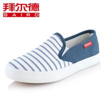 拜尔德 秋季帆布鞋女鞋子条纹懒人鞋韩版潮透气低帮鞋平底休闲鞋 价格:22.30
